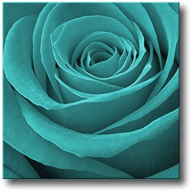 TURQUOISE ROSE CANVAS ART FLORAL BOX WALL PICTURE A1
