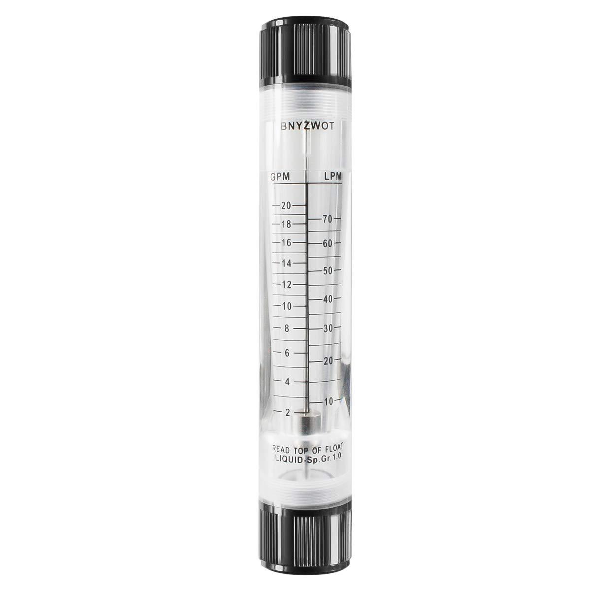 "BNYZWOT Water Tube Design Liquid Flowmeter Measure 1""PT Dia Input G-25 2-20GPM 10-70LPM"