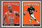 Michael Jordan, Walter Payton 1965 Topps Football Design Custom (2)Card Lot (Bulls) (Bears)