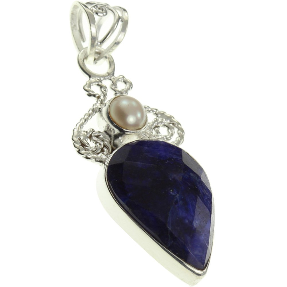 1.88 Cultured PEARL Pendant 925 Sterling Silver Created SAPPHIRE