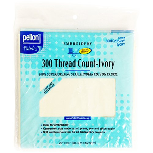 Pellon 300 Thread Count Cotton Fabric for Embroidery, 20 by 24-Inch, Ivory (Fabric Crewel)