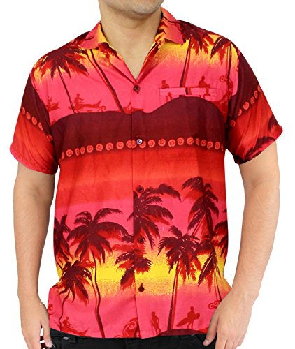 f09e1943 La Leela Aloha Hawaiian Tropical Beach Solid Plain Mens Casual Short  Sleeves Button Down Tropical Shirts 5XL Red - Buy Online in Oman.