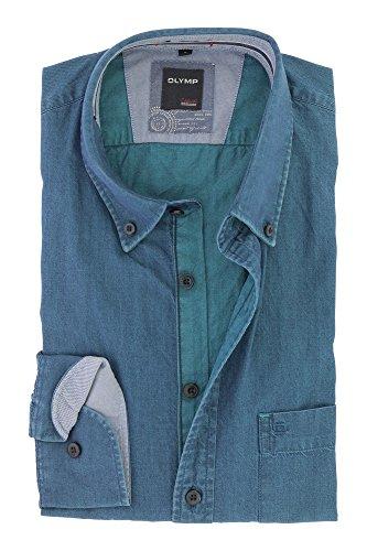 OLYMP Herren Casual Freizeithemd Langarm mit Button Down Kargen Comfort Stretch 100% Baumwolle Gr.L Blau Jeans