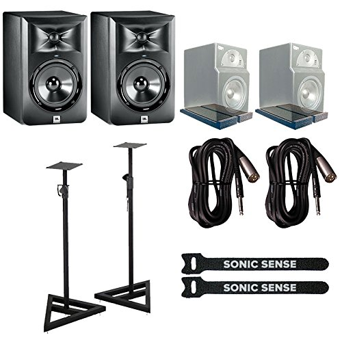 JBL LSR305 Studio Monitors PAIR with Monitor Stands, IsoPlanes Isolation Pads, Straps & Cables Bundle