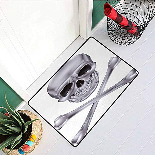 Gloria Johnson Silver Inlet Outdoor Door mat Vivid Skull and Crossbones Dangerous Scary Dead Skeleton Evil Face Halloween Theme Catch dust Snow and mud W31.5 x L47.2 Inch Dimgray]()
