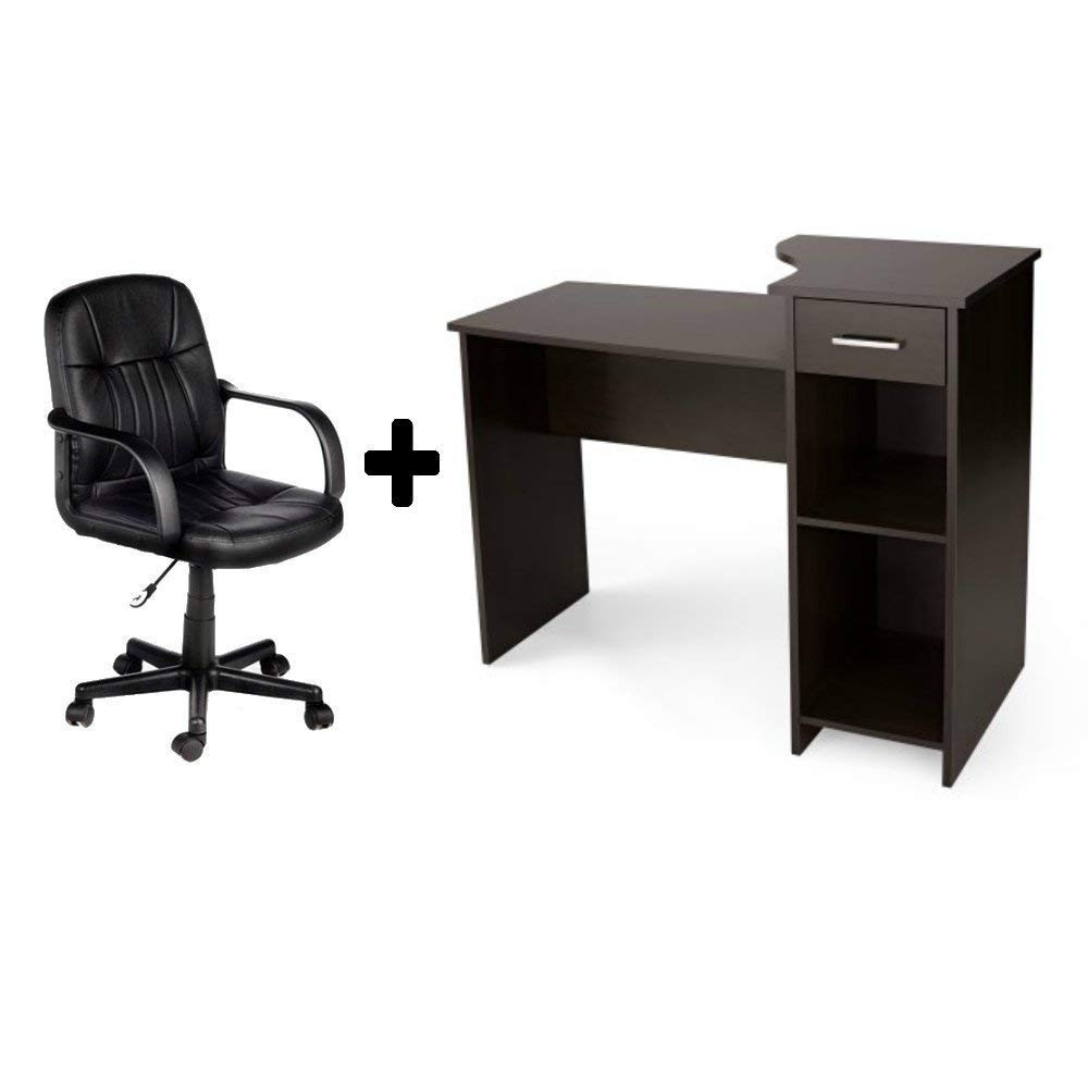 Student/Office Home Desk in Espresso + Leather Mid-Back Chair in Black - Bundle Set