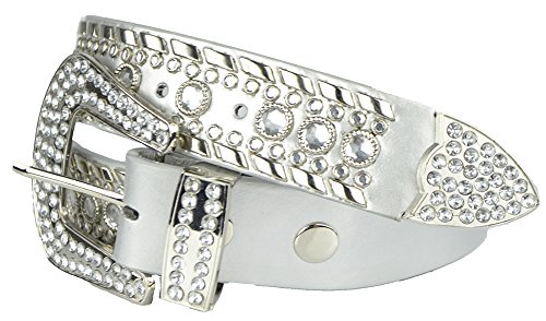 Belt Gold Buckle Bling (Womens Rhinestone Belts - Western Cowgirl Belt with Bling Buckles by Belle Donne - White)