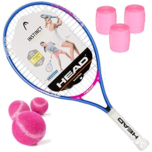 Cheap HEAD Instinct Junior Girl's 23 Inch Tennis Racquet Kit with Pink Tennis Balls and Pink Overgrip (Perfect Starter Set for Girls)