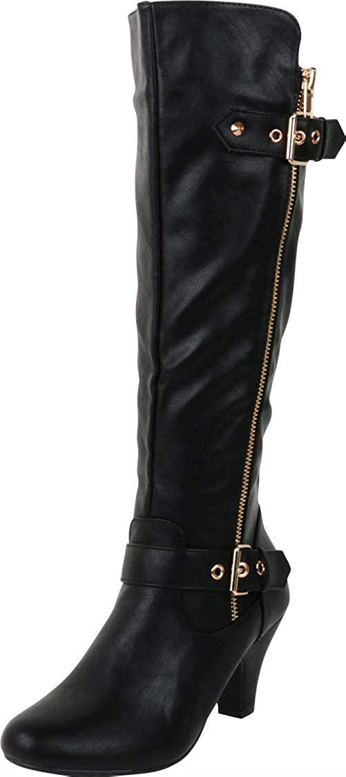 Cambridge Select Womens Strappy Buckle Chunky Mid Heel Knee-High Boot