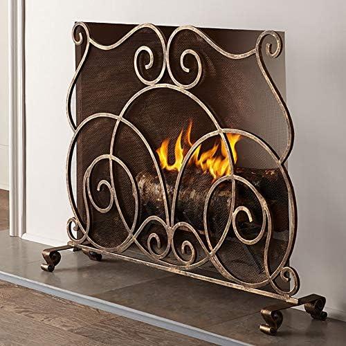 暖炉スクリーン ギフト用屋内ヴィンテージ暖炉スクリーン - メタルメッシュ大スパーク/残り火ガードフェンス - オープン火災/ガスは、カバーを発射します