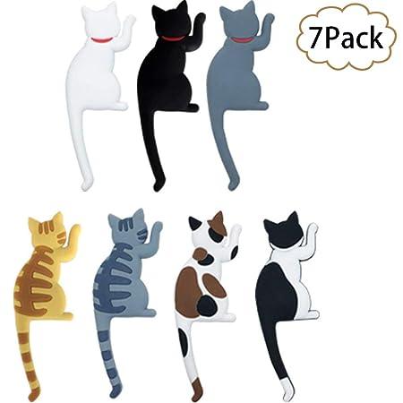 wingoffly Flexible Cute Cat Magnética frigorífico juego de ganchos ...