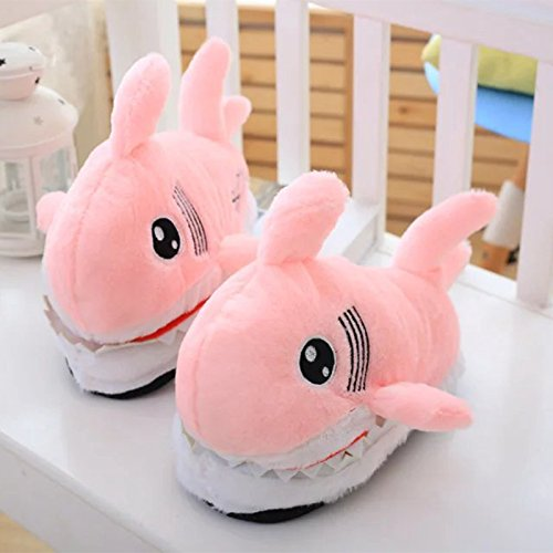Gray Pink 36 Plush Warm Slip Cute House Animal Winter Women Slippers Size For One Anti 42 Slippers Shark aaqnTr6x