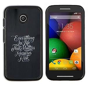 TECHCASE---Cubierta de la caja de protección para la piel dura ** Motorola Moto E ( 1st Generation ) ** --Todo en la vida