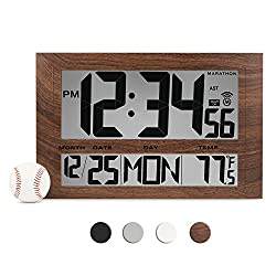 MARATHON CL030025WD Commercial Grade Jumbo Atomic Wall Clock with 6 Time Zones, Indoor Temperature & Date in Wood Tone