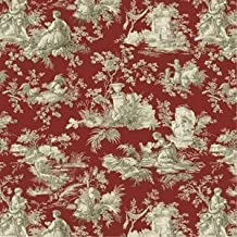 """1/2 Yard - """"Country Life"""" Toile on Ruby Red Cotton Duck Fabric (Great for Quilting, Sewing, Craft Projects, Throw Pillows & More) 1/2 Yard x 44"""""""