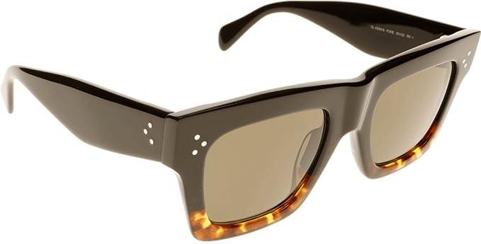 2fe0d28ec6 Image Unavailable. Image not available for. Colour  Celine 41054 S  Sunglasses-0FU5 Black Havana Tortoise (1E Green ...