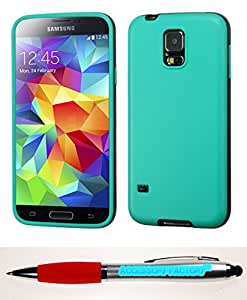 Accessory Factory(TM) Bundle (the item, 2in1 Stylus Point Pen) SAMSUNG Galaxy S5 Green Grey TWO-COLOR Candy Skin Cover