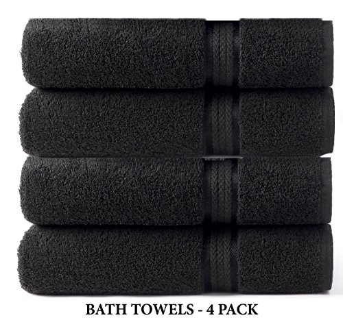 Cotton Craft - 4 Pack - Ultra Soft Oversized Extra Large Bath Towels 30x54 Black - 100% Pure Ringspun Cotton - Luxurious Rayon Trim - Ideal for Daily Use - Each Towel Weighs 22 Ounces