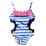DmsBanga Baby Girls Kids Rompers Backless Swimsuits Bathing Suits One-Piece Flowers Stripe Beach Party Resorts Hot Spring Swimming Pools Wear Summer