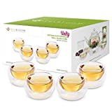 Teabloom Tea Cups - Double Wall Insulated Glasses - Set of 4 Heat Resistant Borosilicate Tea and Espresso Cups (3.4 oz/100 ml)