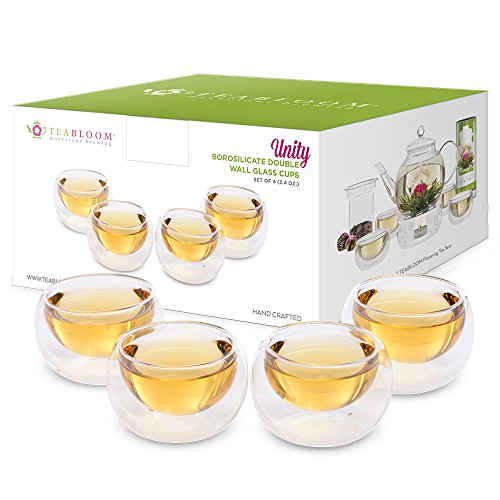 Teabloom Tea Cups - Double Wall Insulated Glasses - Set of 4 (3.4 oz / 100 ml) Heat Resistant Borosilicate Tea and Espresso Cups - Lead Free ()