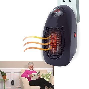 Calentador casa calefactor ventilador de aire caliente 400 W temporizador temperatura Calor pequeña estufa estufa Portátil con toma de corriente Europea: ...