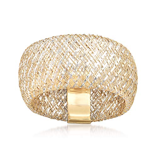 Two Ring Italian Tone - Ross-Simons Large Italian 14kt Two-Tone Gold Woven Mesh Ring