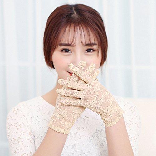 Aurora Bridal Women's 2016 Short Floral Lace Wrist Length Wedding Gloves, Champagne (Gloves Wrist Bridal Length)