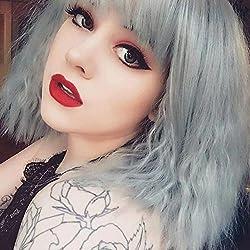 eNilecor Women Short Bob Fluffy Hair Full Wigs with Bangs Heat Resistant Kinky Straight Custom Cosplay Party Wigs (Grey)