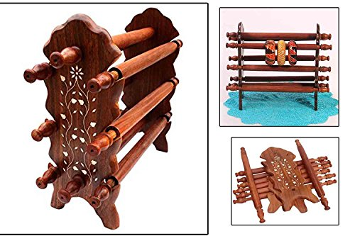 Unique Handmade Wooden Bangle Stand, 8 Rod Bracelet Stand, Brown Color Stand, Wooden Bangle Hanger Display for Women And Girls, Size 12 Inch, Easter Day / Mother Day / Good Friday Gift
