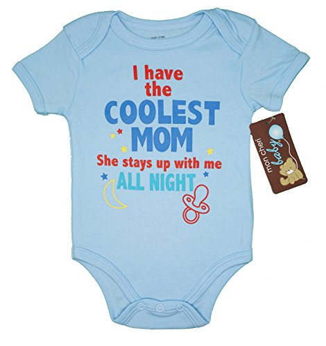 Mon Cheri Baby I Have The Coolest Mom She Stays UP With Me Funny Baby Boy One Piece Infant Bodysuit(6-9)