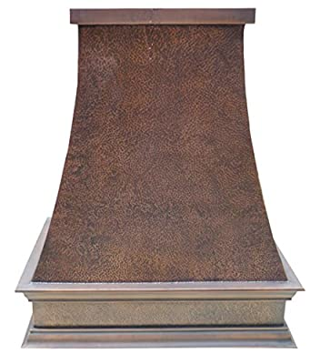 "Sinda Copper Kitchen Range Hood with High Airflow Centrifugal Blower, Includes SUS 304 Liner and Baffle Filter, High CFM Vent Motor, Wall/Island/Ceiling Mount, Width 30/36/42/48 in (W48""xH48""Island)"