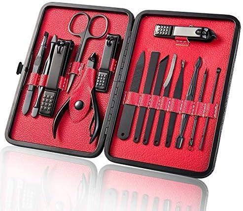 ヘルスパーソナルケアブラックステンレス鋼マニキュアナイフネイルはさみ15個セットマニキュアツールセット15赤