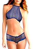 Victoria's Secret Women's Blue High neck Unlined Bra Fish Net 38 C