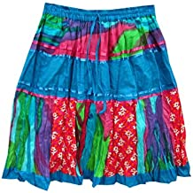 Mogul Womens Bohemian Skirt Patches Crinkle Cotton Gypsy Mini Skirts