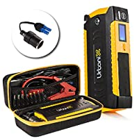 Portable Car Jump Starter by URBANIX | 15000mAh 600A Peak Booster Battery Charger | 4 X USB Power Bank, LCD Screen | Compass, Led Flashlight Great for Camping | Special Bonus Cigarette Lighter Adapter