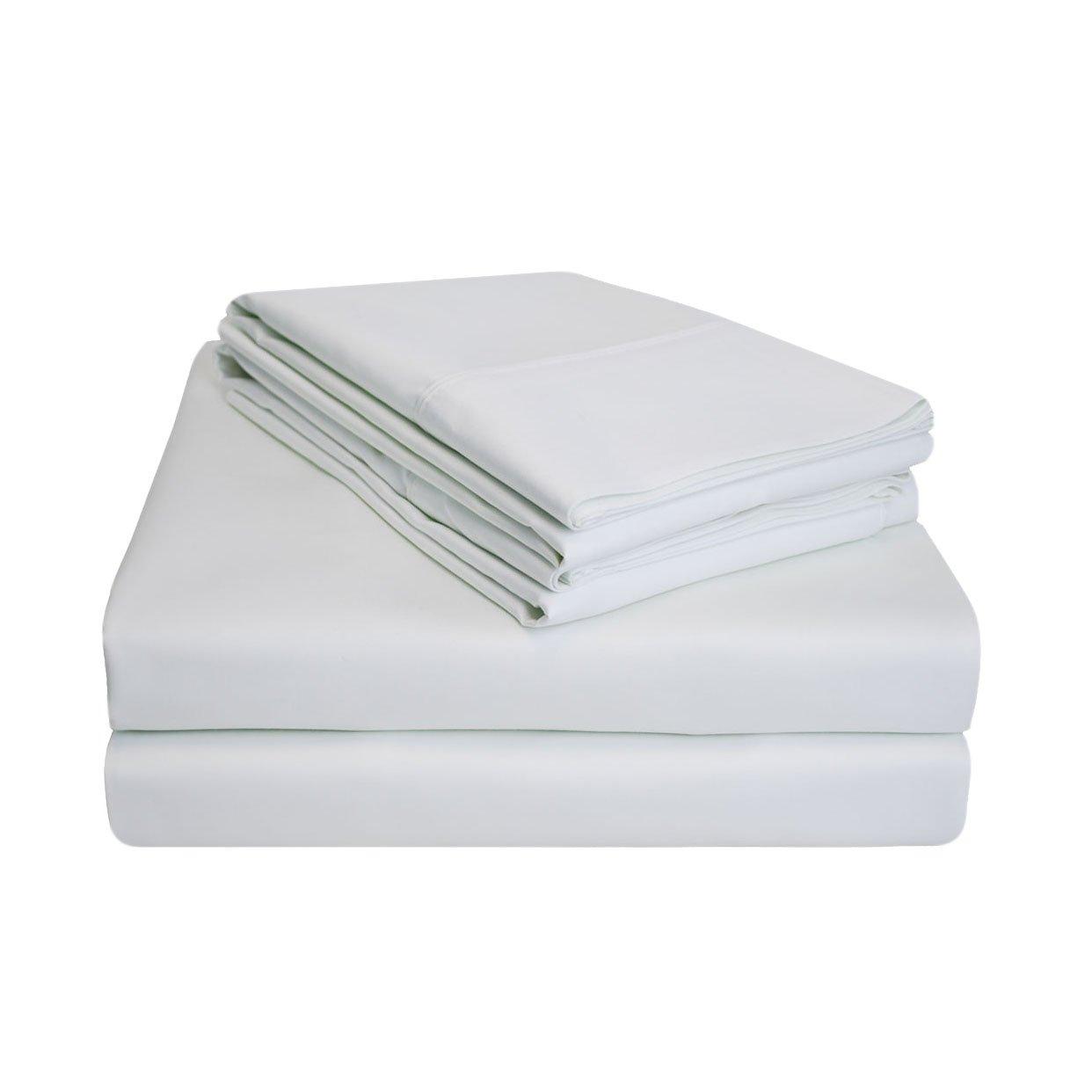 Impressions Superior - Juego de sábanas 198 x 203 cm, 100% algodón de 900 hilos y de un solo cabo, color blanco liso, 4 piezas: Amazon.es: Hogar