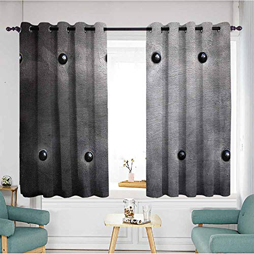 duommhome Industrial Printed Insulation Curtain Black Grunge Plate Armour Digital Print with Rivets Industrial Theme Print 70%-80% Light Shading, 2 Panels,72
