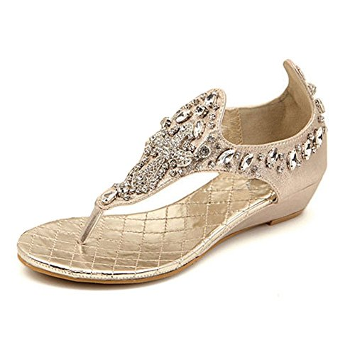 eda26ce38c3 lovely Zicac Women s Wedge Heel Sandals Rhinestone Bead Thong Sandal Clip  Toe Flats