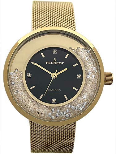 Peugeot Women's Luxury Watch, 14k Gold Plated Mesh Band with Diamond Accent Dial and Floating Genuine CZ -