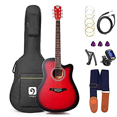 Guitar Acoustic Electric, Acoustic Guitar Cutaway 41 Inch Full Size Folk Guitar Beginner Kit, Red, by Vangoa
