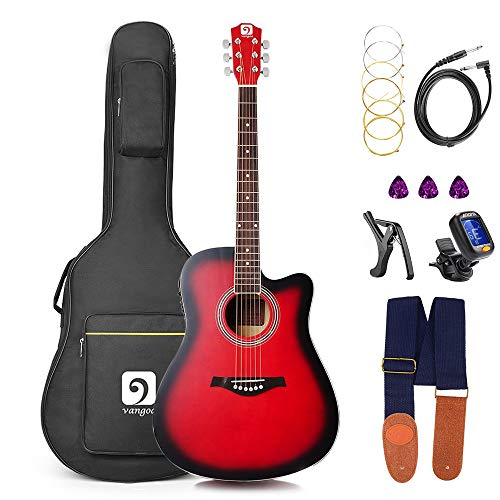 Guitar Acoustic Electric, Acoustic Guitar Cutaway 41 Inch Full Size Folk Guitar Beginner Kit, Red, by Vangoa ()