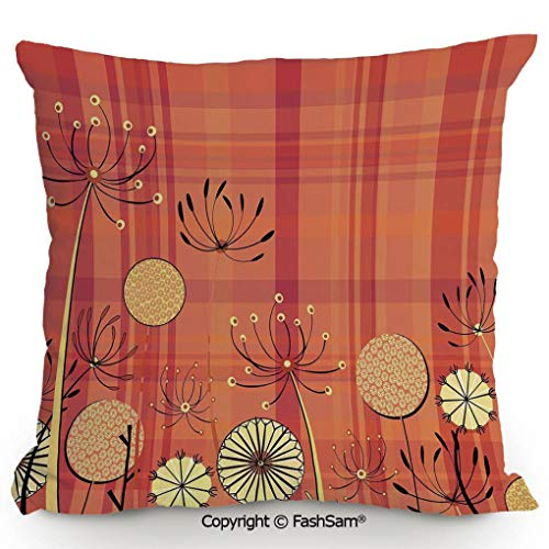 FashSam Home Super Soft Throw Pillow Generic Umbellifer Flowers Blooms and Traditional Tartan Pattern Illustration for Sofa Couch or Bed(16