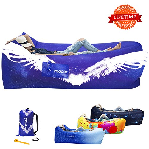 yeacar Inflatable Lounger Air Sofa, Portable Waterproof Indoor or Outdoor Inflatable Couch for Camping Park Hiking Travelling Picnics Pool Music Festivals and Beach -