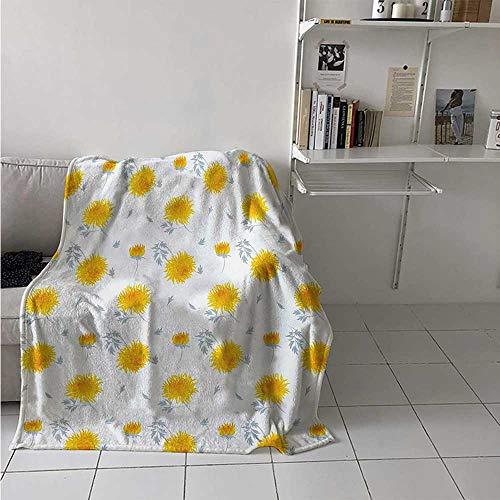maisi Yellow Flower Digital Printing Blanket Seasonal Autumn Florets Chrysanthemum Fall Leaves Natural Grace Theme Summer Quilt Comforter 62x60 Inch Mustard Pale Grey