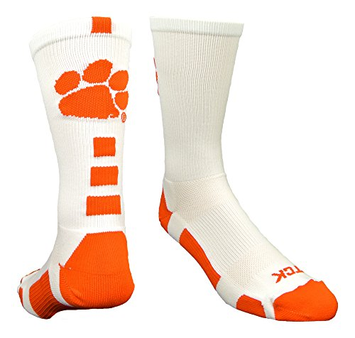 Clemson Baseline Crew Socks (White/Orange, Medium) (Basketball Clemson University)