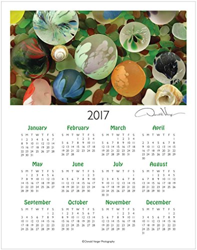 2017 Fine Art Sea Glass One Page Wall Calendar 11x14. Unique Gifts from the Sea Glass Collection. Best Quality Birthday, Christmas, Valentines Day & Mother's Day Gifts for Women, Men & Kids.