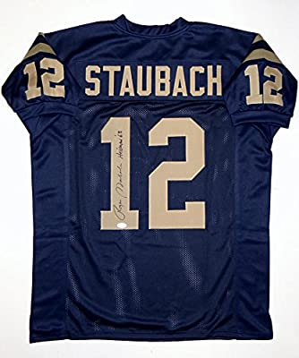 7c3995cb2 Roger Staubach Autographed Navy Blue College Style Jersey W/Heisman- JSA W  Auth at Amazon's Sports Collectibles Store