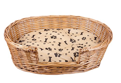 Hand Made Brown Wicker Dog Bed With Cushions -Medium