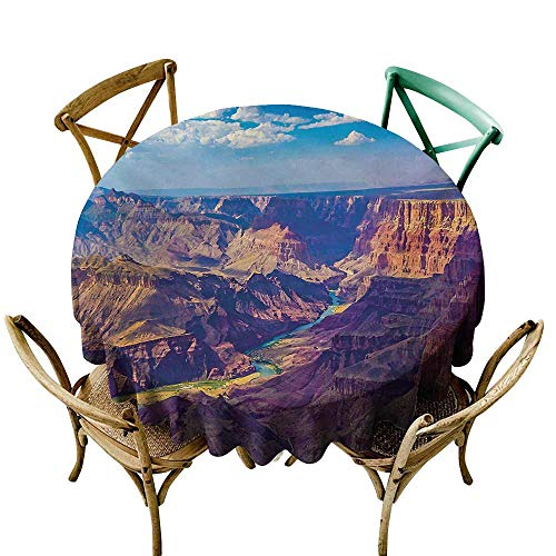 Mkedci Elegance Engineered Tablecloth Canyon Aerial View of Epic Grand Canyon Activity of River Stream Over Rock Plateau Print Picnic D35 Blue ()